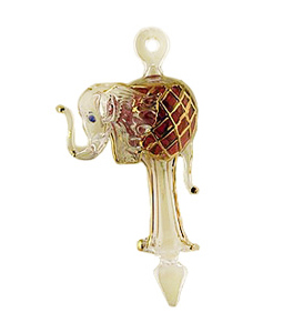 Elephant Glass Christmas Ornaments