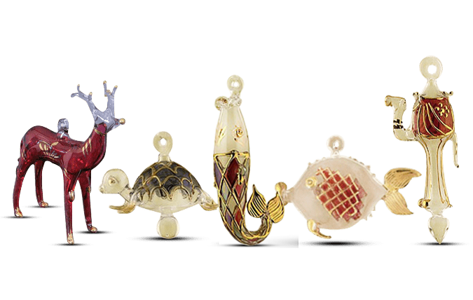 Glass Animal Ornaments Set